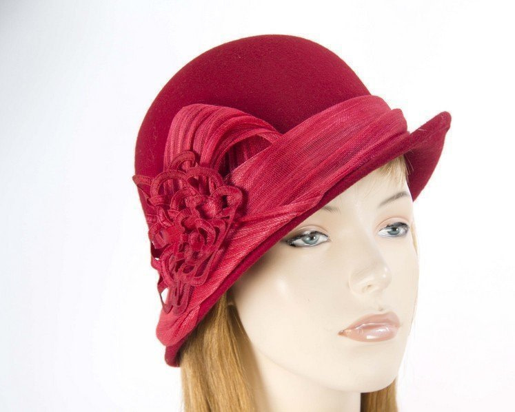 Red ladies fashion felt bucket hat by Fillies Collection