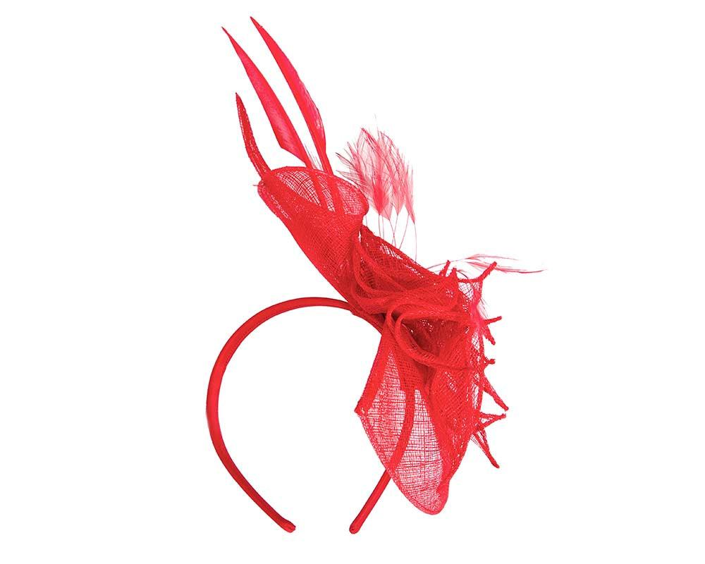 Red sinamay racing fascinator by Max Alexander