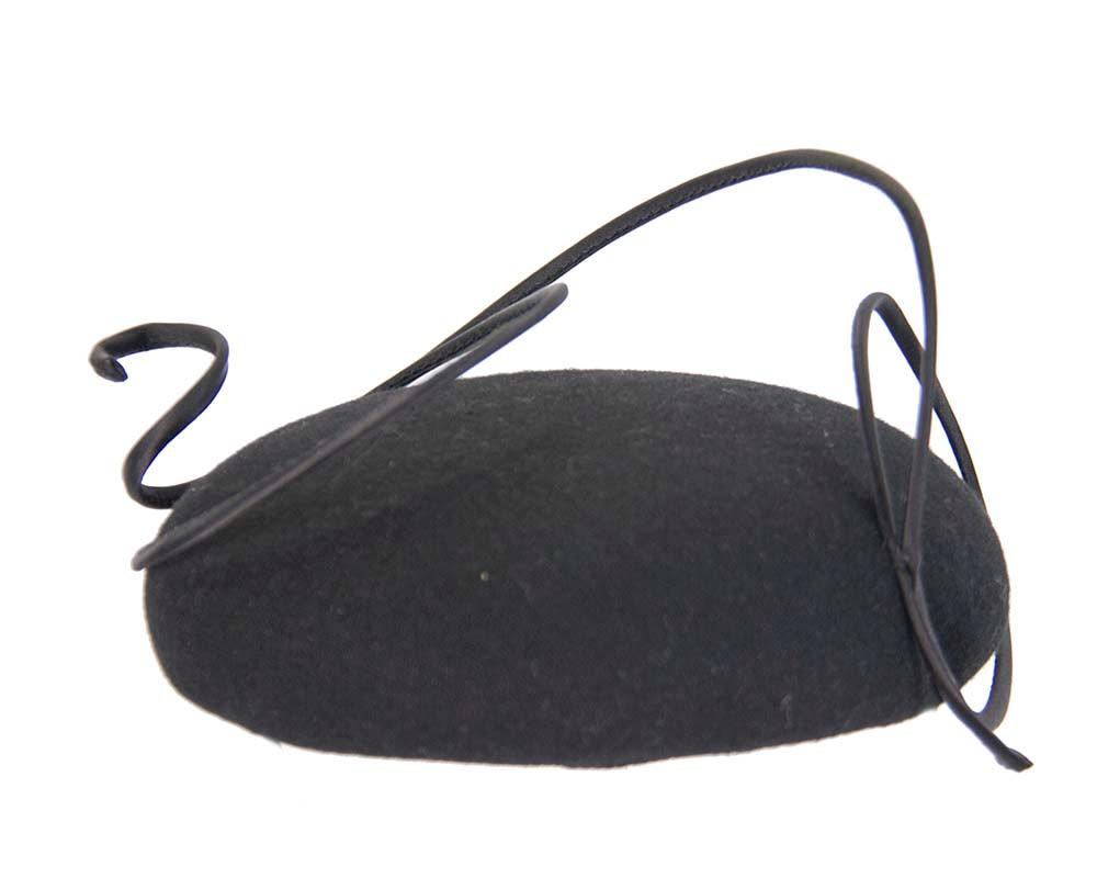Black felt fascinator hat with wire work