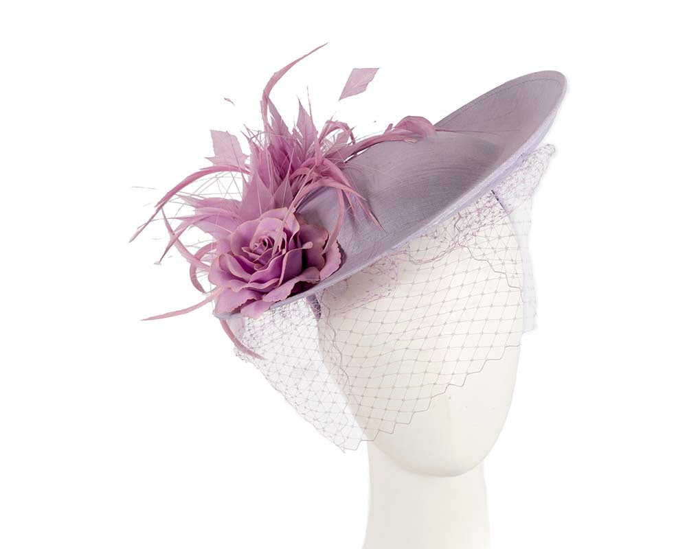 Large lilac fascinator by Cupids Millinery Melbourne