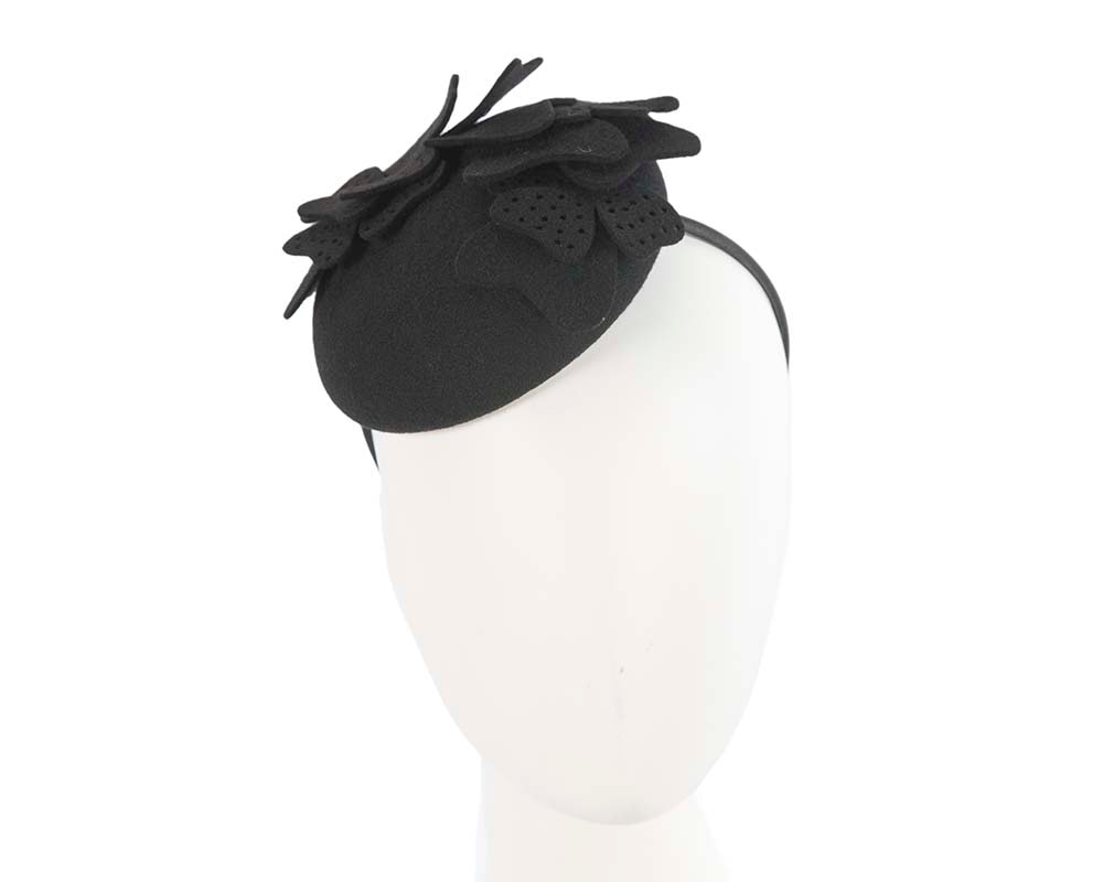 Black winter pillbox  felt fascinator by Cupids Millinery Melbourne