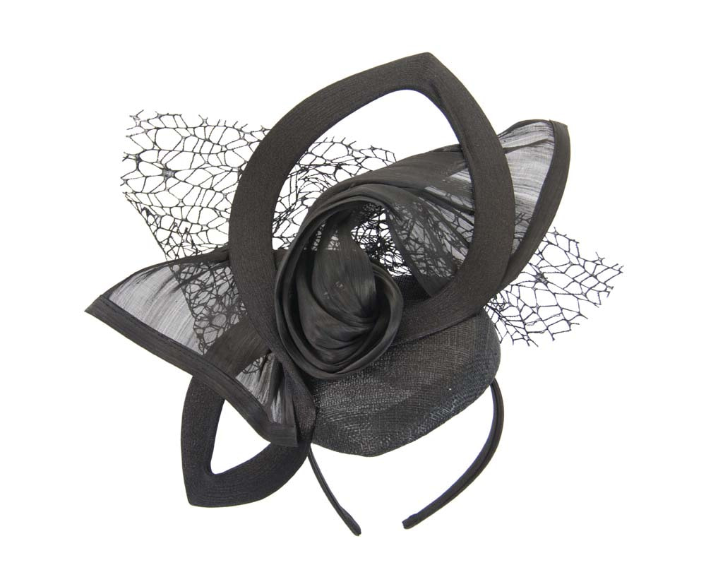 Bespoke sculptured black fascinator by Fillies Collection