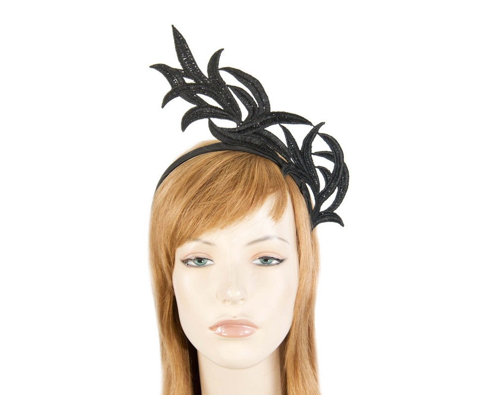 Black lace crown fascinator headband by Max Alexander