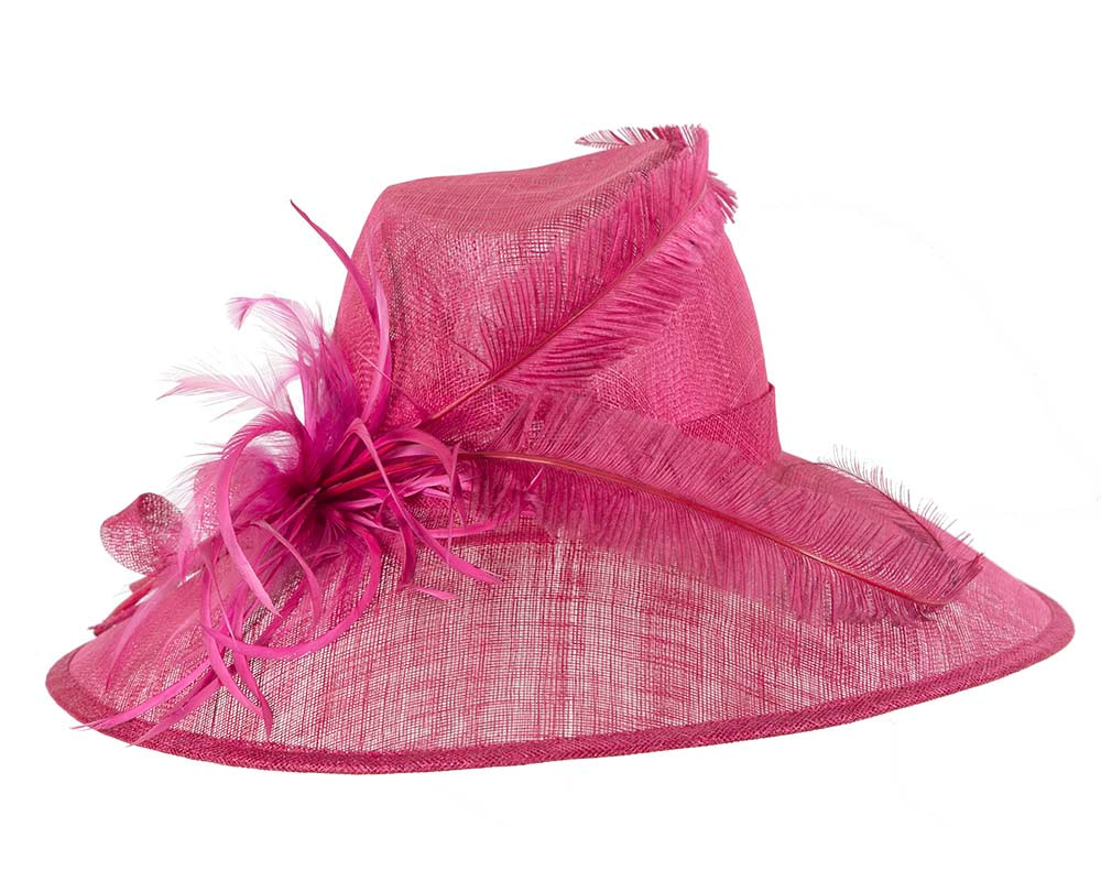 Large Raspberry Red Ladies Fashion Racing Hat by Cupids Millinery