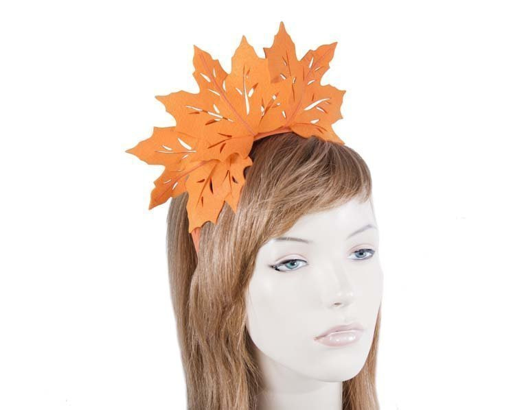 Orange laser cut maple leafs on headband