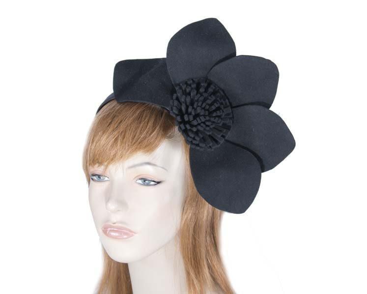 Black felt flower fascinator