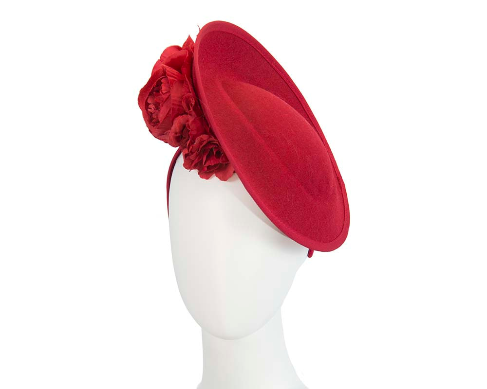 Large red plate with flowers winter racing fascinator