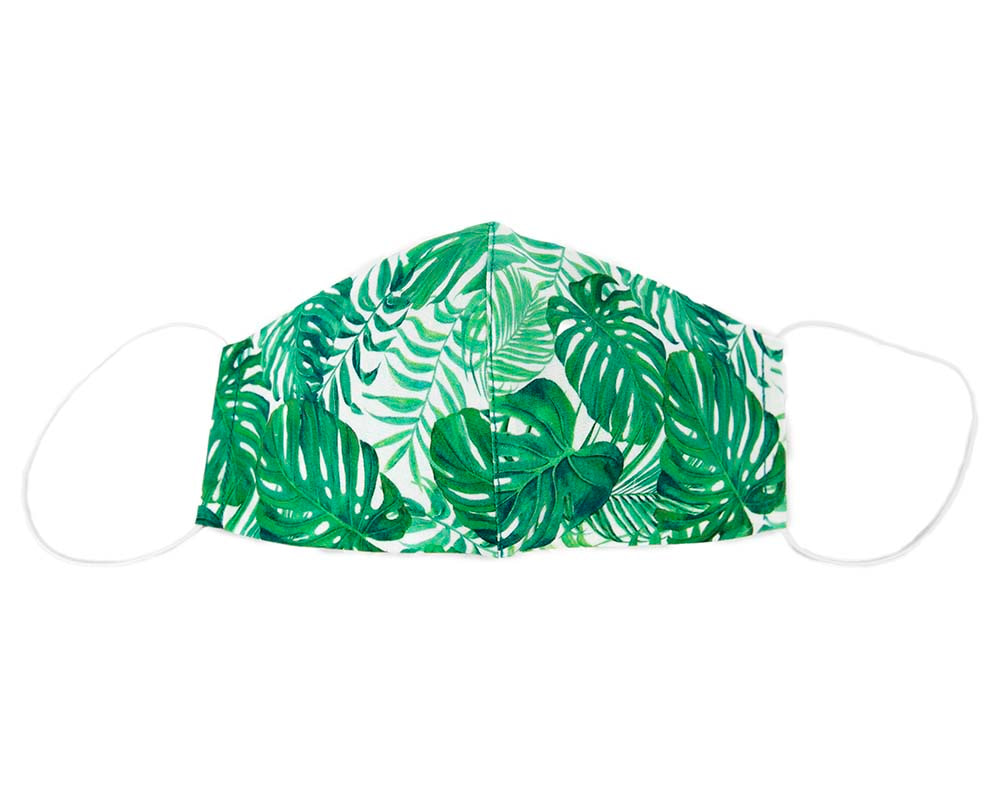 Comfortable re-usable cotton face mask green leafs