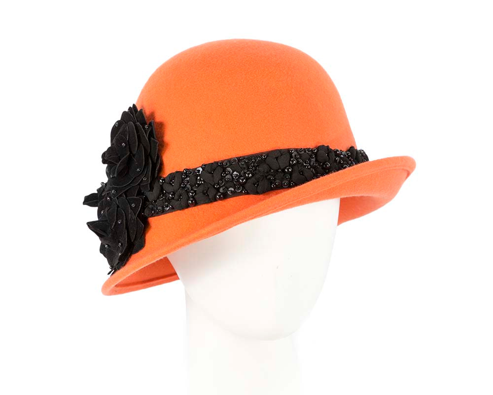 Orange ladies winter felt cloche hat by Fillies Collection