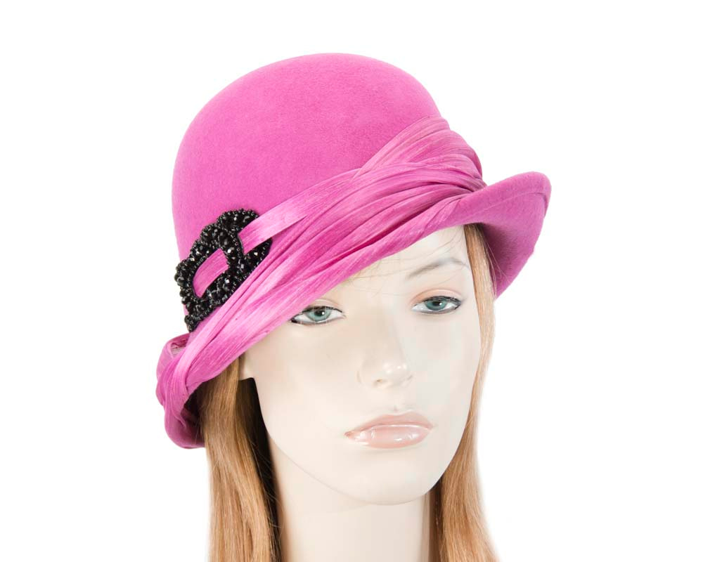 Fuchsia felt draped cloche hat