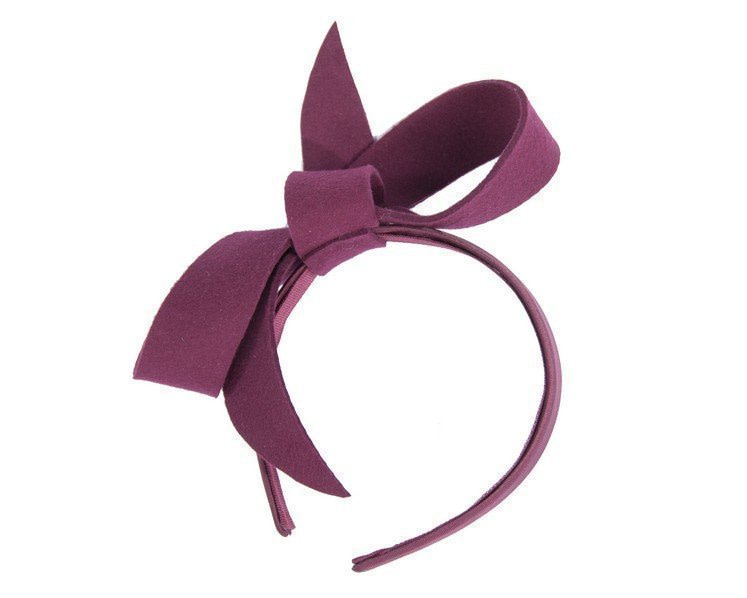 Wine felt bow fascinator
