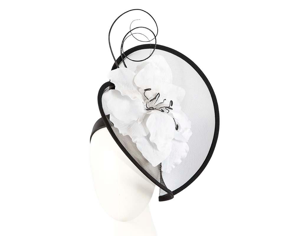 Large black & white flower heart fascinator