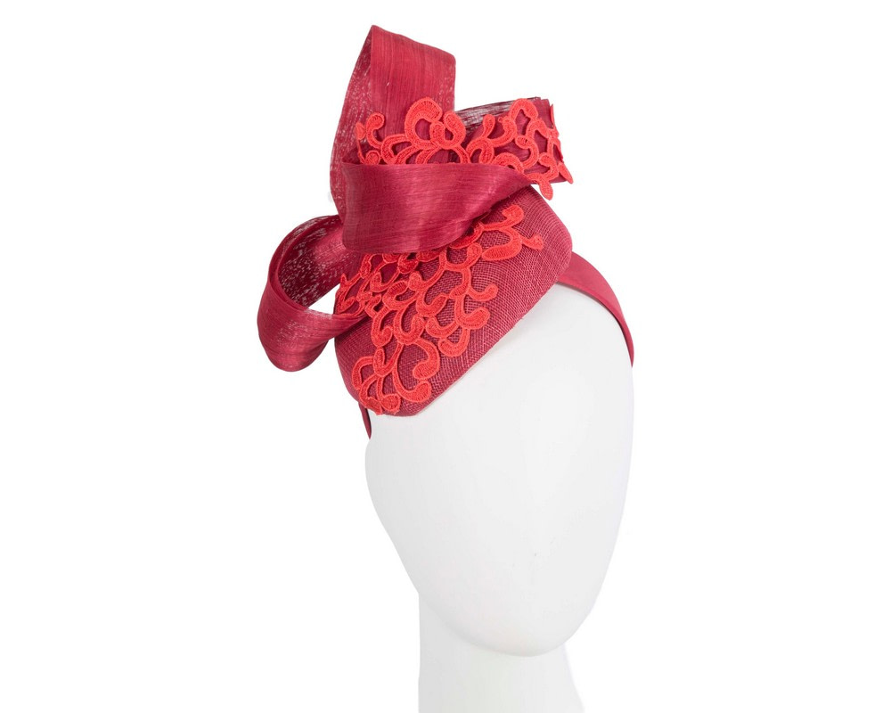 Stunning red pillbox fascinator with lace by Fillies Collection
