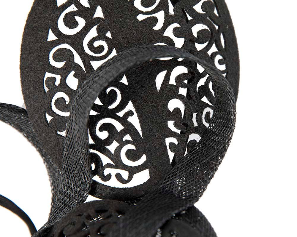 Black sinamay & lace fascinator by Max Alexander