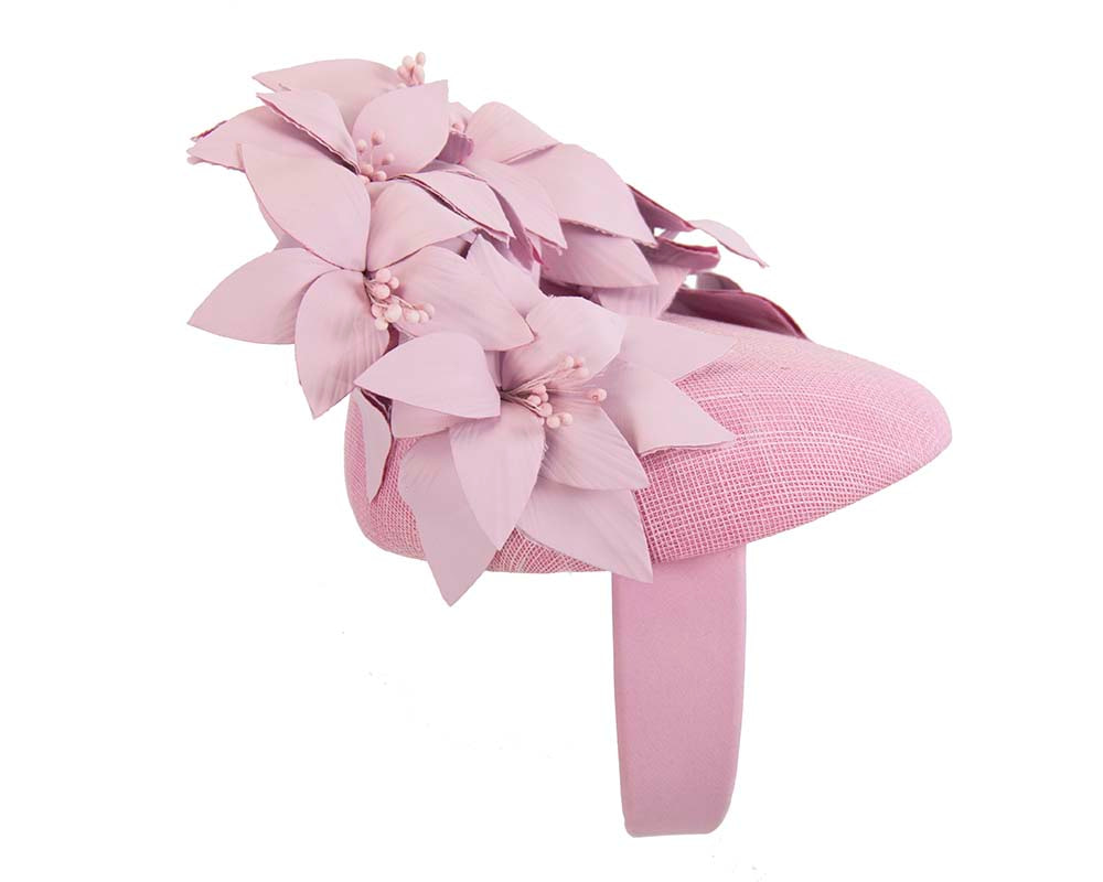 Lilac pillbox with leather flowers by Fillies Collection