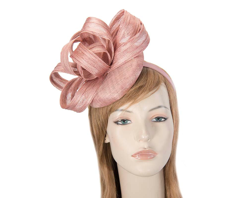 Dusty pink racing fascinator with loops by Max Alexander