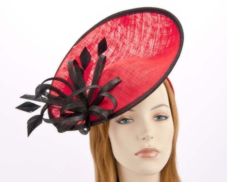 Large red racing fascinator hat for Melbourne Cup Derby buy online in Aus MA634R