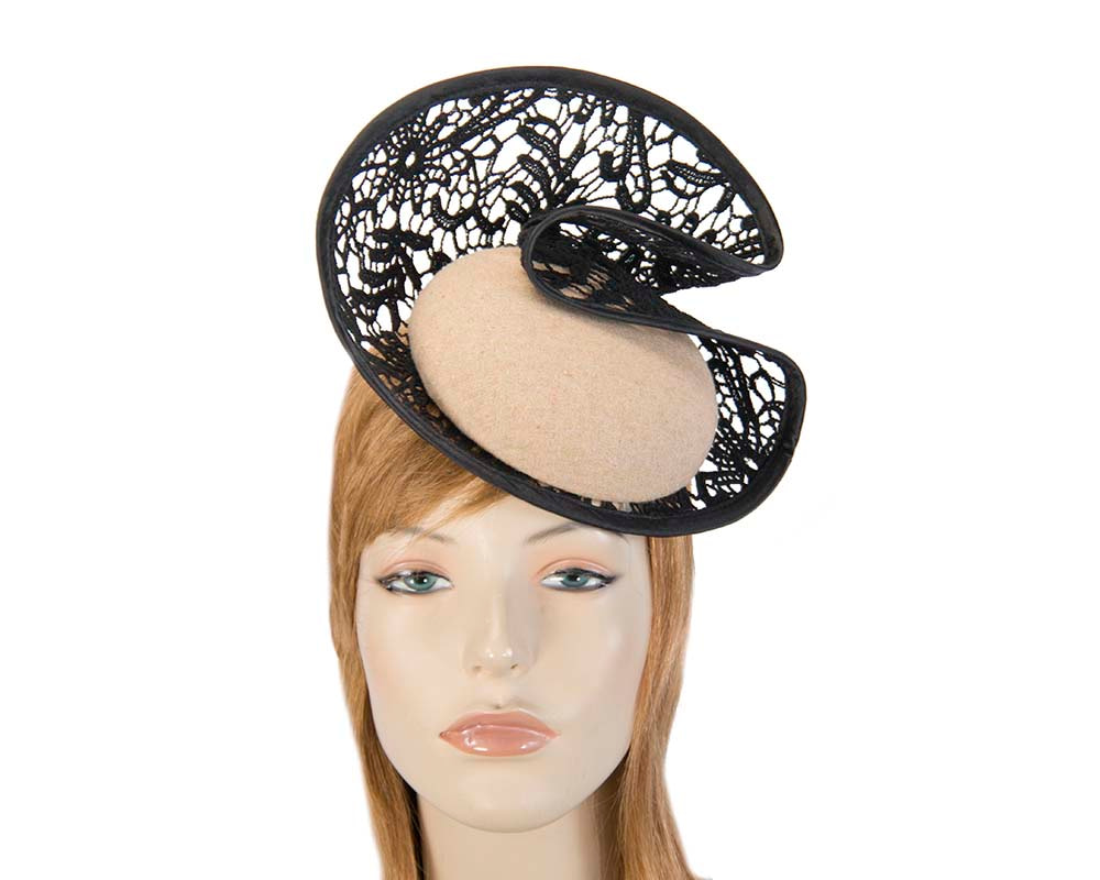 Beige lace autumn winter racing fascinator