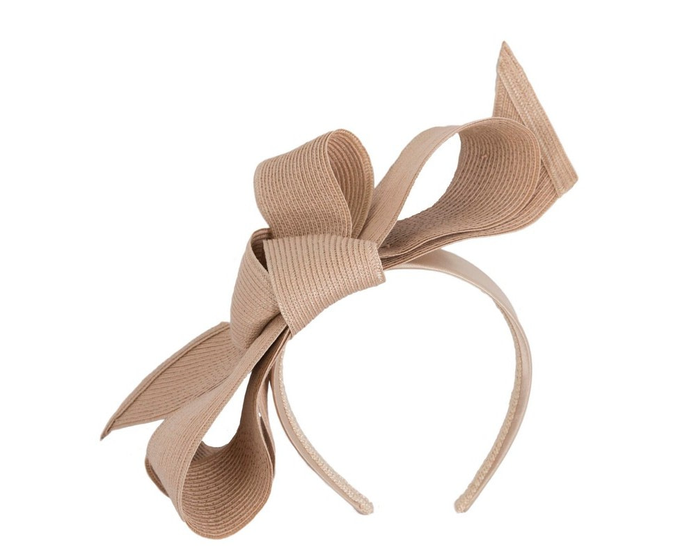 Large nude bow racing fascinator by Max Alexander