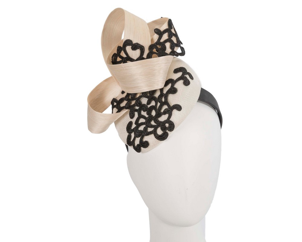 Stunning cream & black pillbox fascinator with lace by Fillies Collection