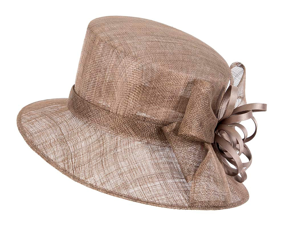 Bucket Chocolate Brown sinamay hat by Cupids Millinery