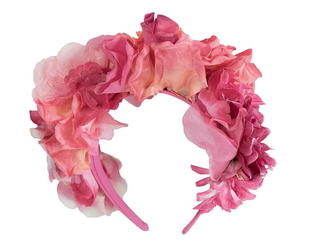 Bespoke fuchsia flower headband crown fascinator