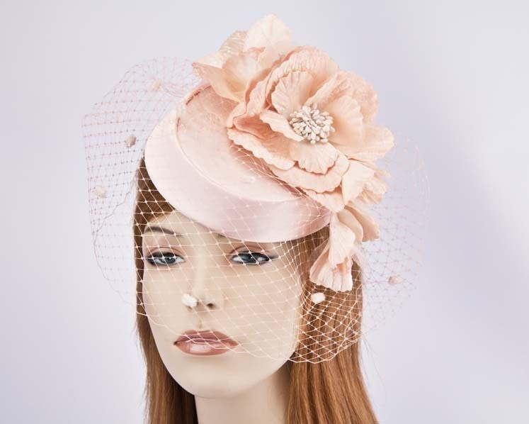 Custom made pillbox with flowers & face veiling