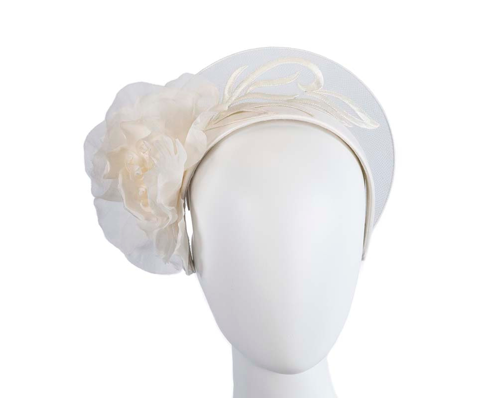 Limited edition ivory crown fascinator with flower