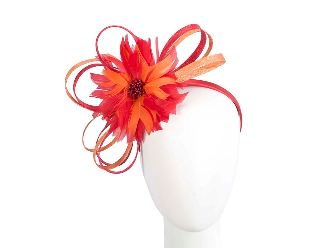 Large red & orange feather flower fascinator by Max Alexander