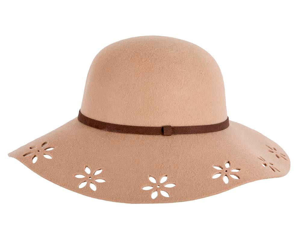 Wide brim beige winter cloche hat by Cupids Millinery Melbourne