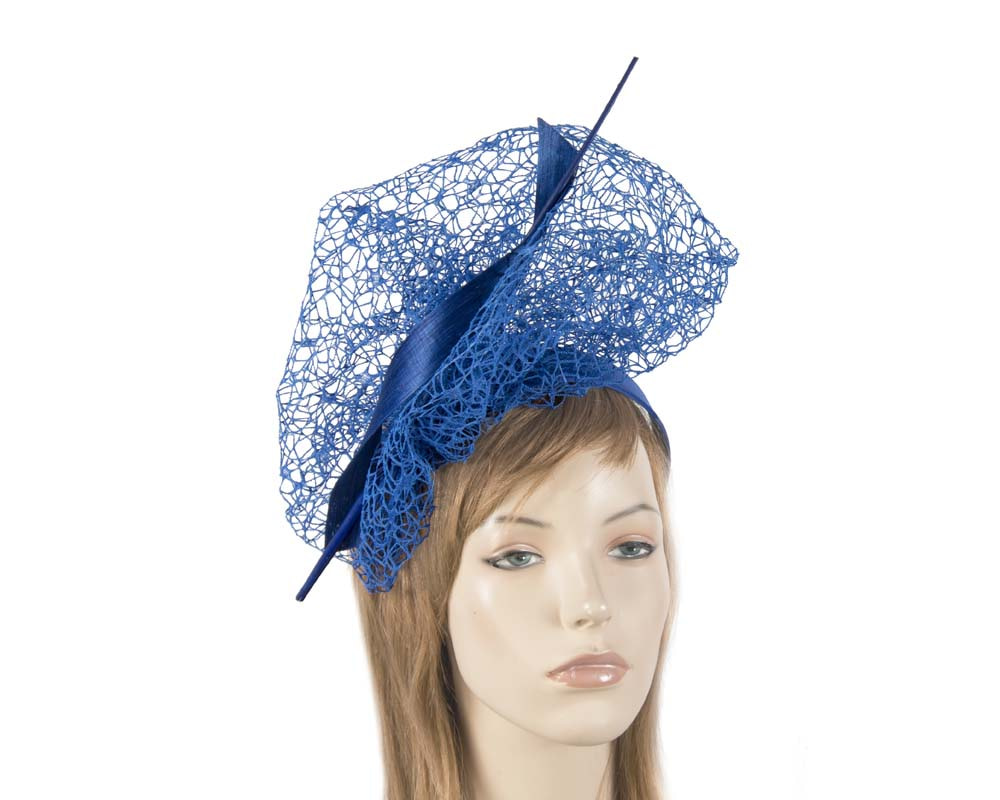 Bespoke royal blue lace fascinator