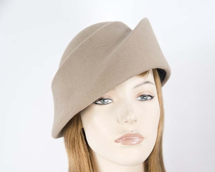 Unique beige ladies winter felt fashion hat