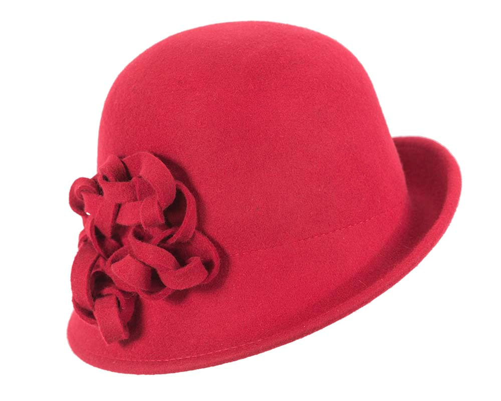 Red felt cloche hat with knot by Max Alexander