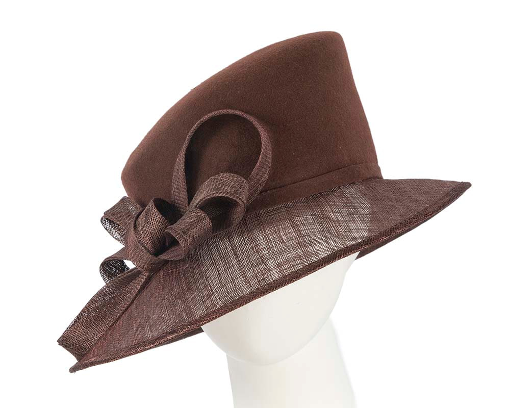Chocolate ladies winter fashion hat by Cupids Millinery