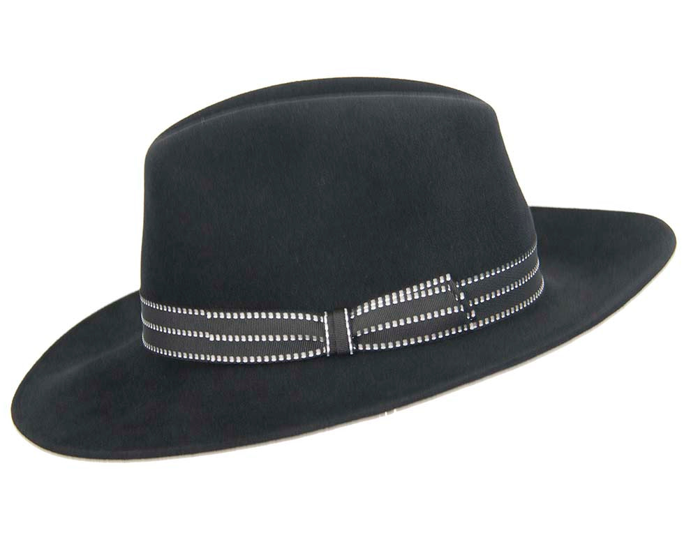 Black wide brim rabbit fur fedora hat