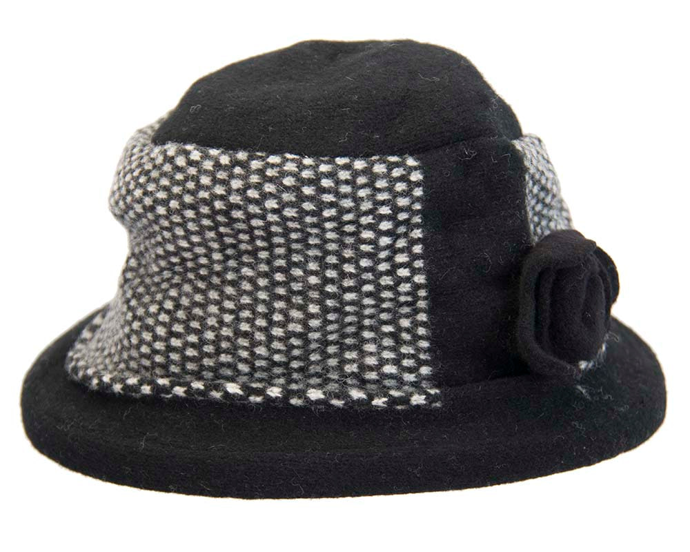 Soft black & grey winter bucket hat by Max Alexander