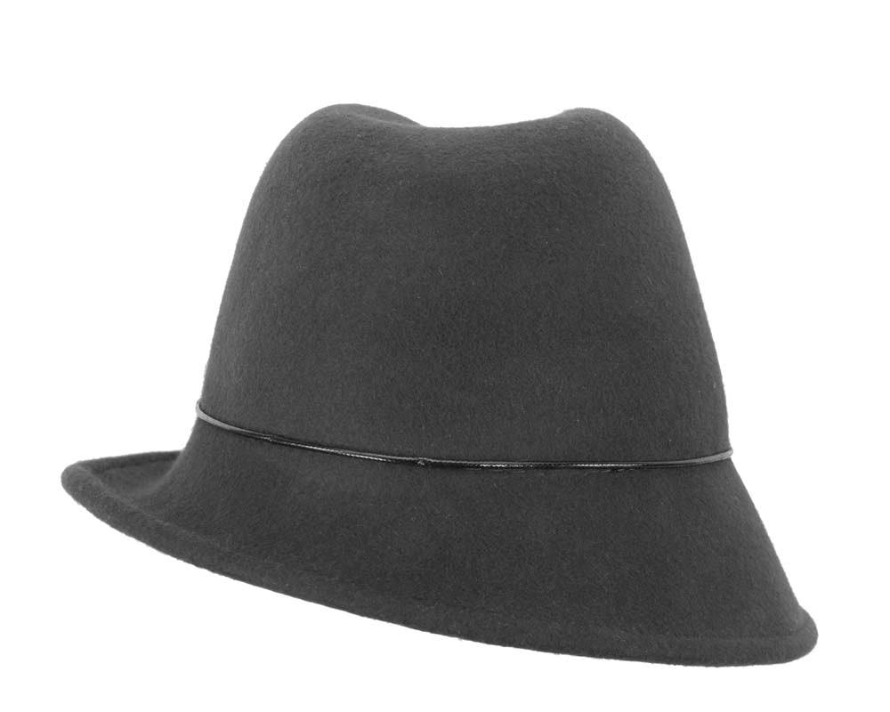 Black felt ladeis winter fedora hat
