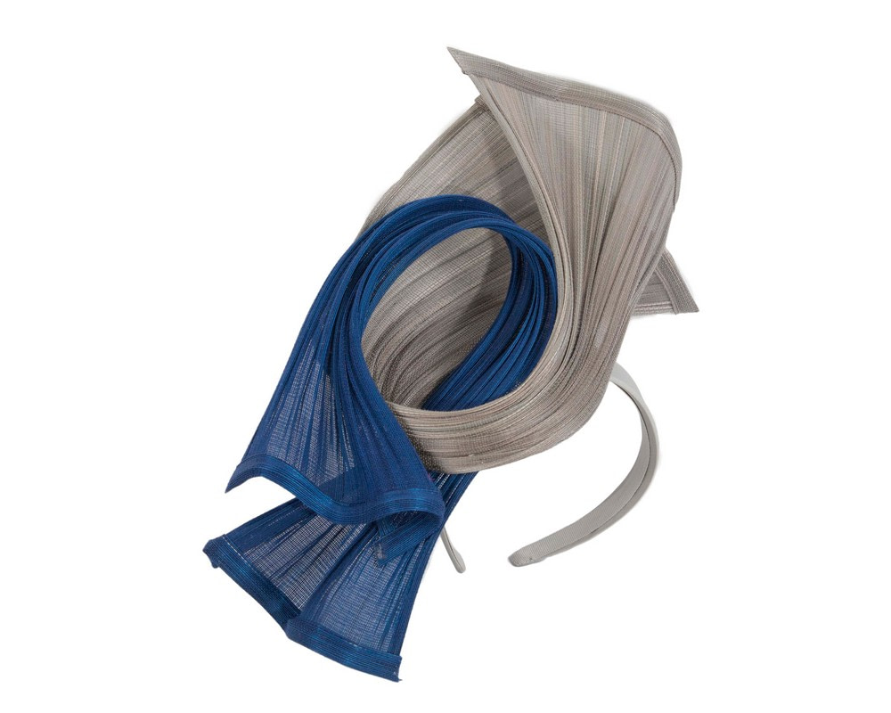 Bespoke silver & royal blue jinsin racing fascinator by Fillies Collection
