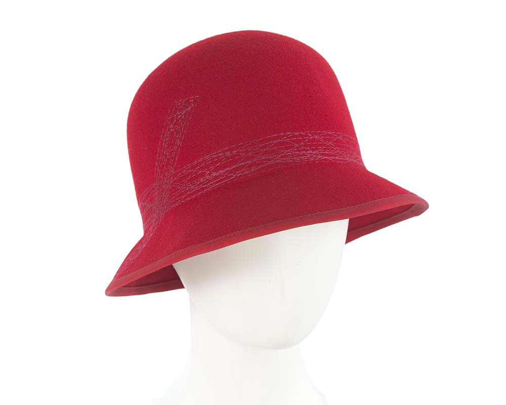 Red ladies winter bucket hat by Cupids Millinery
