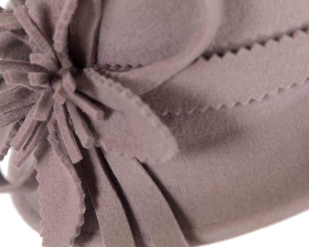 Grey felt winter cloche hat by Cupids Millinery Melbourne