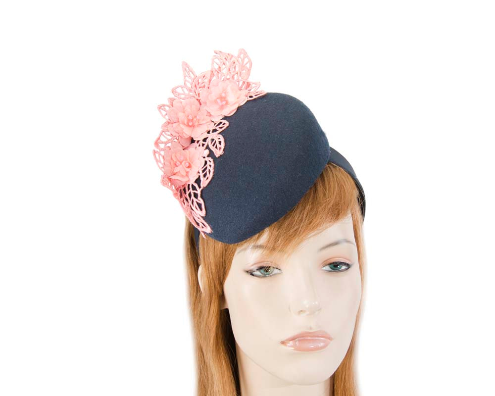 Navy & pink winter pillbox with lace