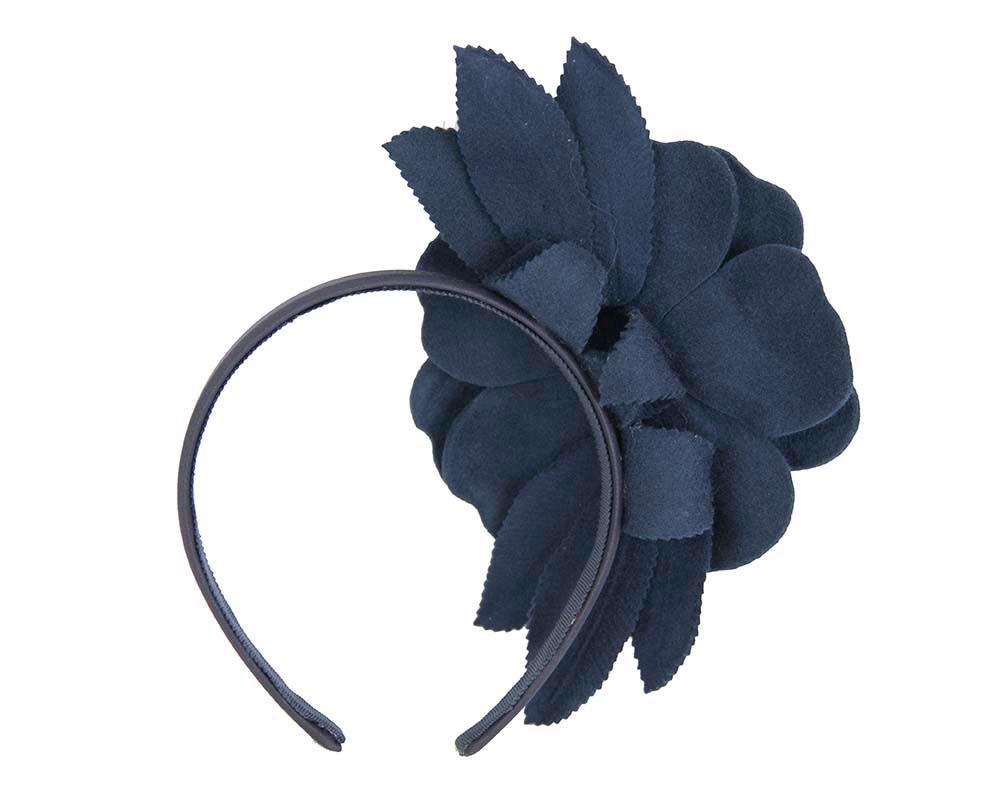 Navy felt flower fascinator by Max Alexander