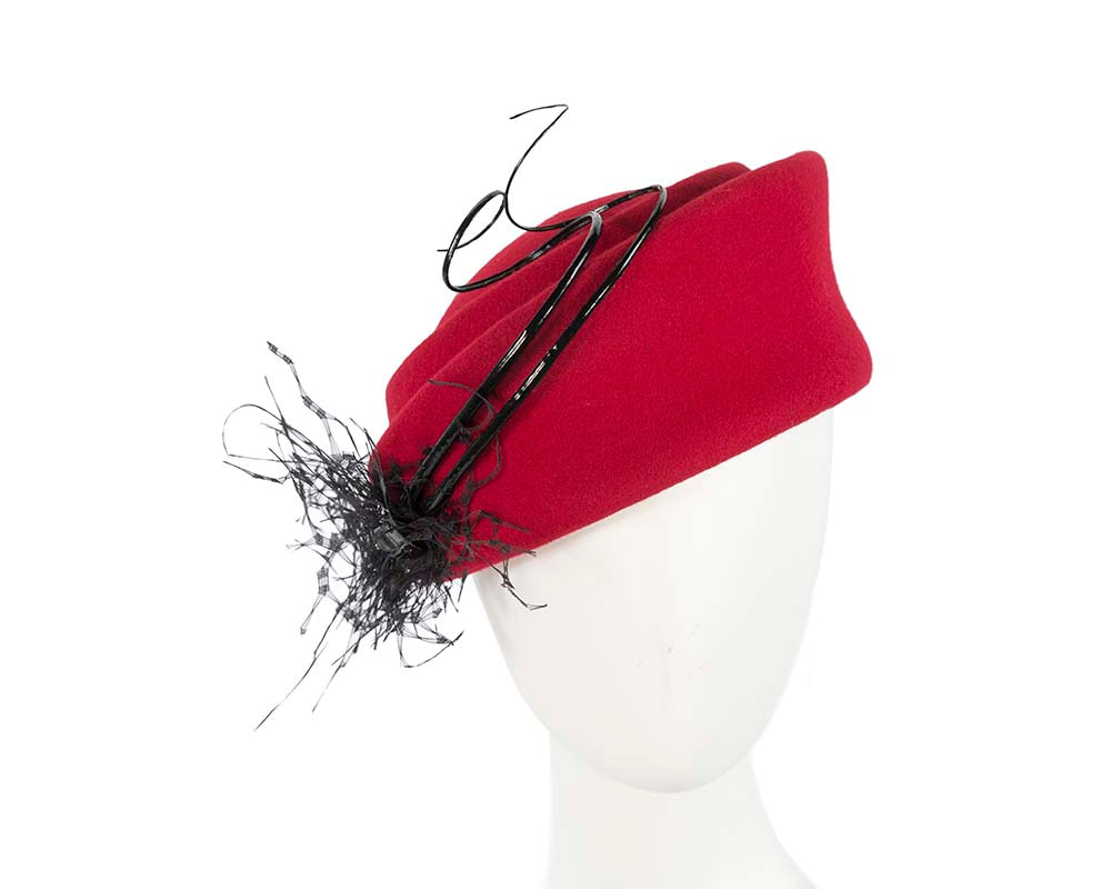 Large red winter felt pillbox hat for races buy online in Australia F572R