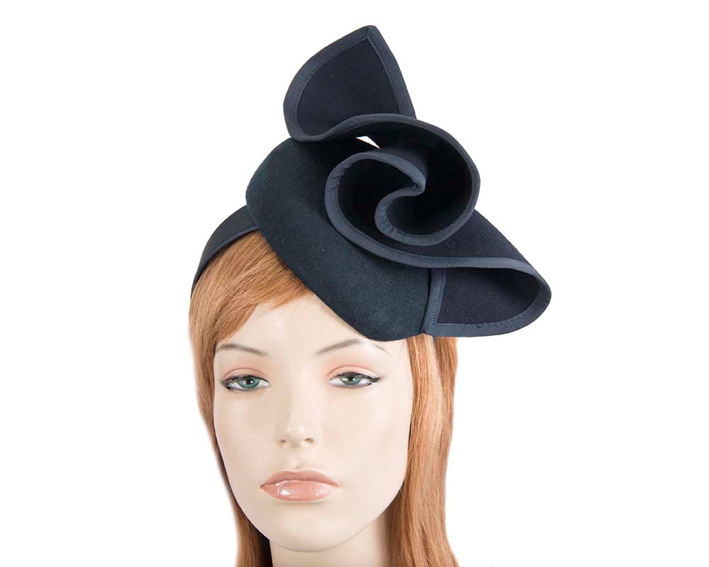 Navy felt winter racing pillbox fascinator by Fillies Collection