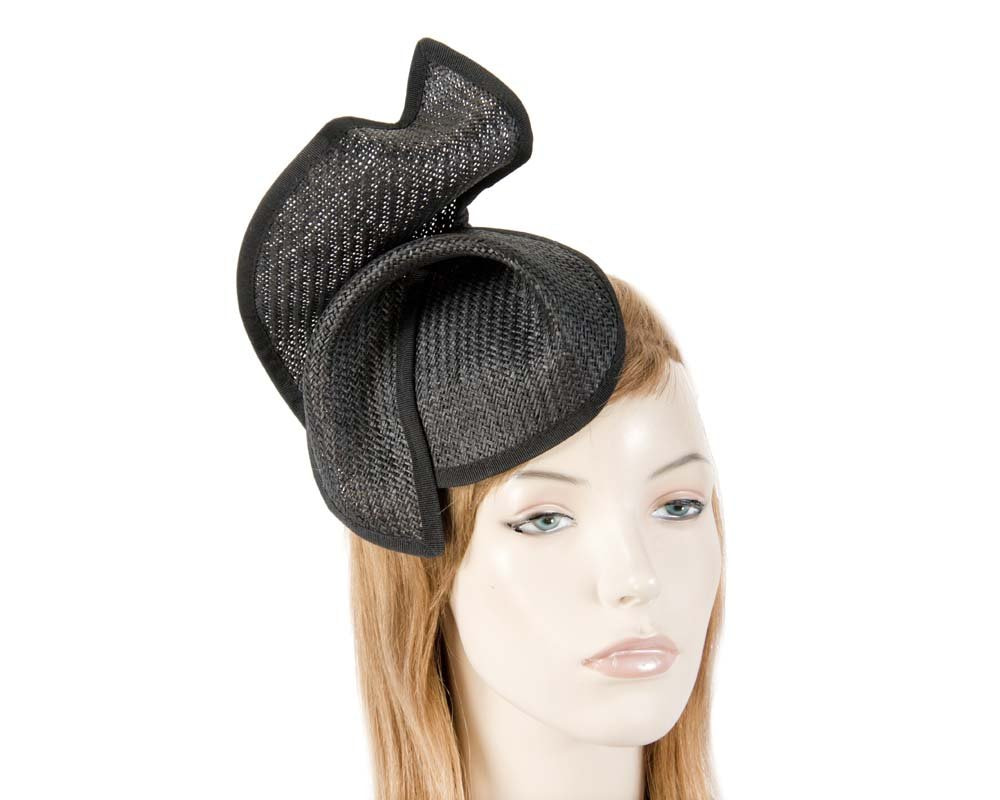 Black fashion pillbox fascinator hat for races Max Alexander MA564B
