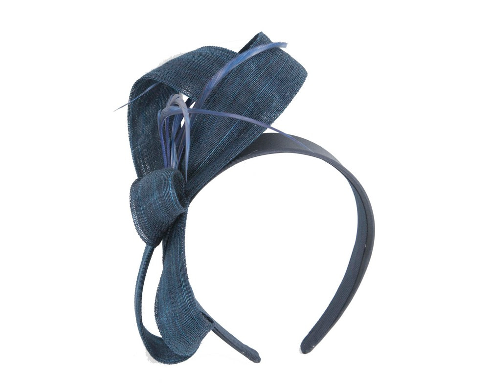 Navy abaca loops and feathers racing fascinator by Fillies Collection