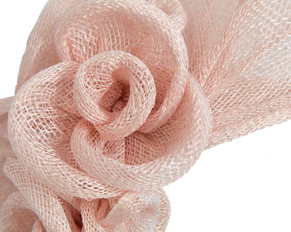 Large blush sinamay  flower fascinator by Max Alexander
