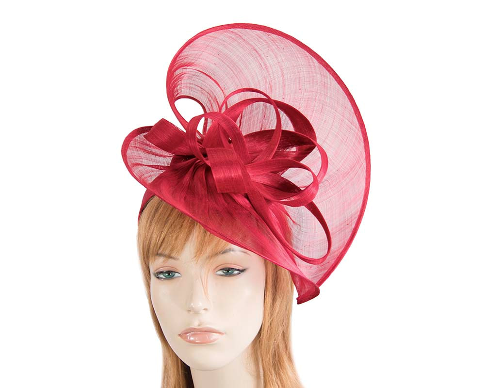 Large red silk abaca heart fascinator