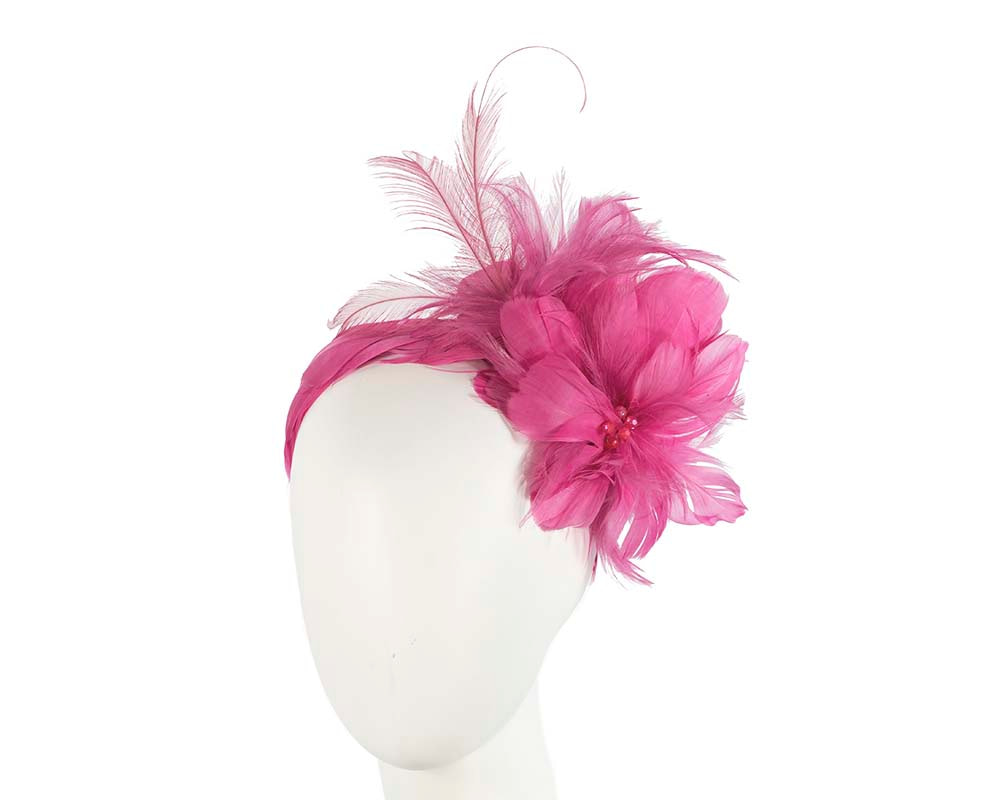 Fuchsia feather flower headband by Cupids Millinery Melbourne