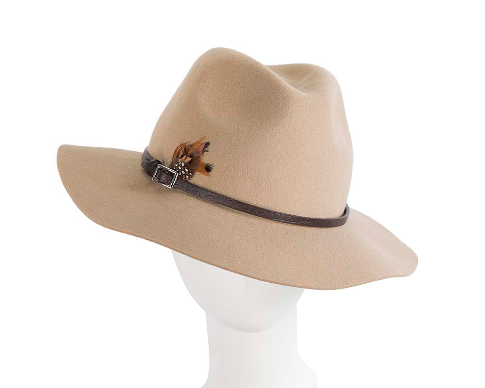 Wide brim beige fedora hat by Cupids Millinery Melbourne